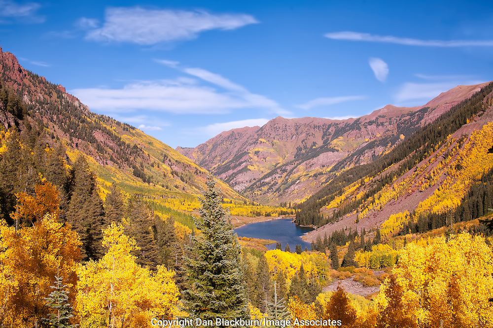 Maroon Lake Surrounded by Golden Aspens in Maroon Bells Wilderness Colorado