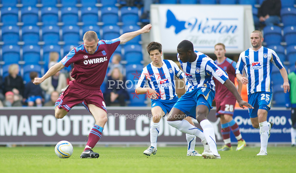 COLCHESTER, ENGLAND - Saturday, September 25, 2010: Tranmere Rovers' Ian Thomas-Moore tries to get his shot on target during the League One match at the Colchester Community Stadium. (Photo by Gareth Davies/Propaganda)