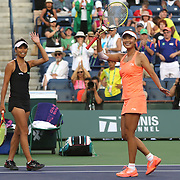 March 15, 2014 Indian Wells, California. Su-Wei Hsieh and Peng Shuai win the women's doubles title over Cara Black and Sania Mirza at the 2014 BNP Paribas Open. (Photo by Billie Weiss/BNP Paribas Open)
