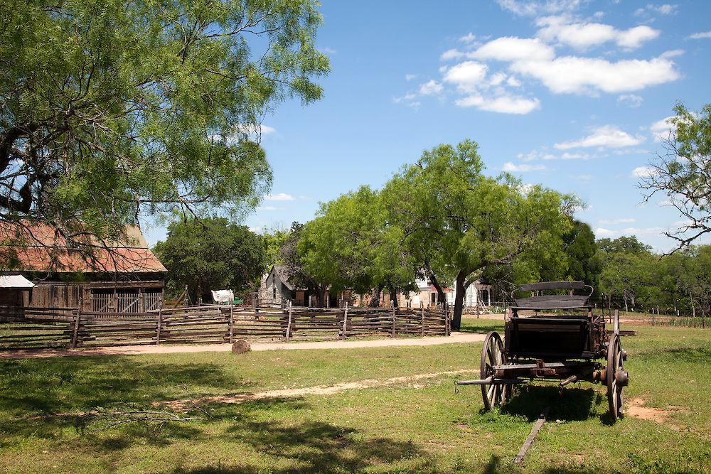 A general view, circa 1915-18, of a small family farm in central Texas, now preserved as living history at LBJ State Park and Historic Site, Stonewall, TX.