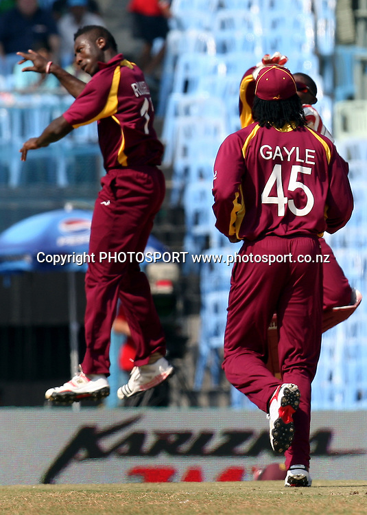 West Indies bowler Andre Russell celebrates after take England batsman Matt Prior wicket during the ICC Cricket World Cup - 36th Match, Group B England vs West Indies Played at MA Chidambaram Stadium, Chepauk, Chennai (neutral venue)<br /> 17 March 2011 - day/night (50-over match)