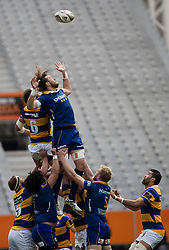 Bay of Plenty's Tom Franklin, left, and Otagos Josh Furno compete for the ball in the line out in the Mitre 10 Cup rugby match, Forsyth Barr Stadium, Dunedin, New Zealand, Oct. 7 2017.  Credit:SNPA / Adam Binns ** NO ARCHIVING**