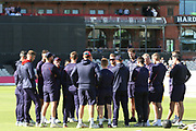 Lancashire team talk before the Vitality T20 Blast North Group match between Lancashire Lightning and Birmingham Bears at the Emirates, Old Trafford, Manchester, United Kingdom on 10 August 2018.