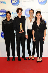 Mercury Prize. <br /> Savages attends the Barclaycard Mercury Prize at The Roundhouse, London, United Kingdom. Wednesday, 30th October 2013. Picture by Chris Joseph / i-Images