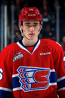 KELOWNA, BC - MARCH 13: Jack Finley #26 of the Spokane Chiefs lines up against the Kelowna Rockets at Prospera Place on March 13, 2019 in Kelowna, Canada. (Photo by Marissa Baecker/Getty Images)