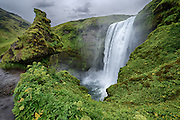 Skogarfoss in South Iceland. It was raining heavily when I arrived there. Gray sky but still a magnificent location.