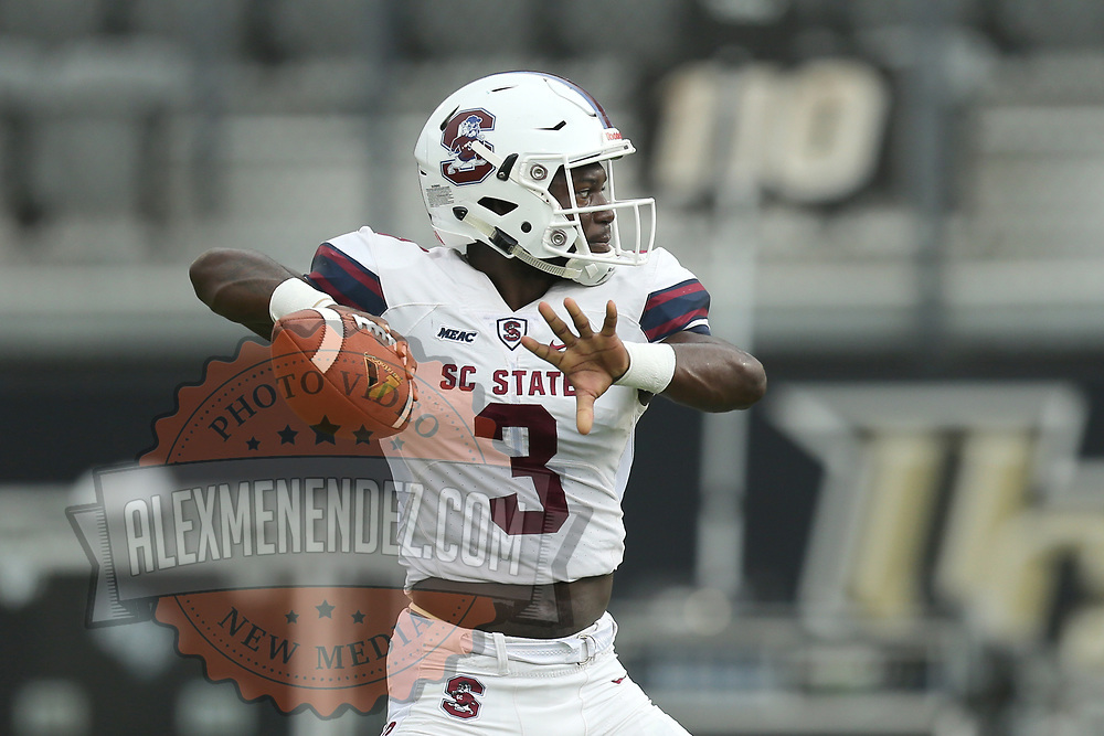 ORLANDO, FL - SEPTEMBER 08:  Tyrece Nick #3 of the South Carolina State Bulldogs warms up during a football game against the UCF Knights at Spectrum Stadium on September 8, 2018 in Orlando, Florida. (Photo by Alex Menendez/Getty Images) *** Local Caption *** Tyrece Nick