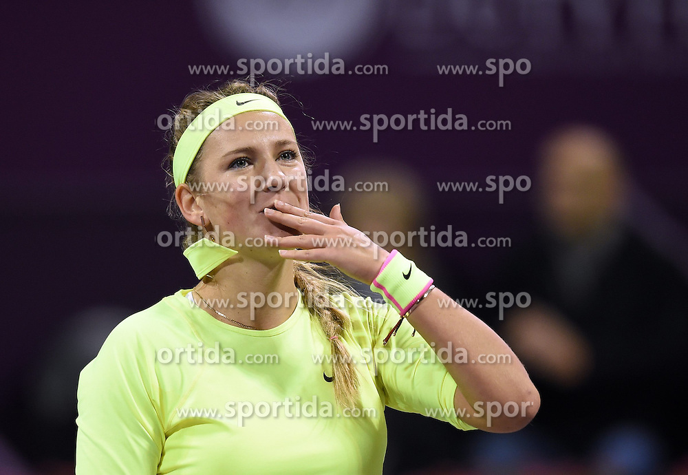 Victoria Azarenka of Belarus blows a kiss after the first round match against Angelique Kerber of Germany in the WTA Qatar Open tennis tournament in Doha, Qatar, Feb. 23, 2015. Victoria Azarenka won 2-0. EXPA Pictures &copy; 2015, PhotoCredit: EXPA/ Photoshot/ Chen Shaojin<br /> <br /> *****ATTENTION - for AUT, SLO, CRO, SRB, BIH, MAZ only*****