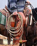 Buckaroos priamarily use a reata or rope made of braided rawhide which is sixty feet long. This buckaroo is using a twisted poly rope.