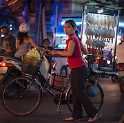 Dried fish street vendor in Saigon (Vietnam)