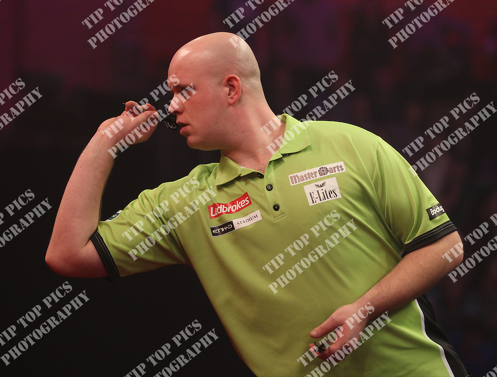 DARTS, PDC WORLD CHAMPIONSHIPS 2014, MICHAEL VAN GERWIN IN ACTION, ALEXANDRA PALACE, LONDON,<br /> PIC CHRIS SARGEANT,<br /> DARTS, PDC WORLD CHAMPIONSHIPS 2014, MICHAEL VAN GERWIN IN ACTION,