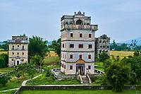Chine, Province de Guangdong, Kaiping, patrimoine mondial de l'Unesco, village de Zili, les Diaolou sont des tours fortifiées // China, Guangdong, Kaiping, Unesco World Heritage, Zili village, the Diaolou are multi storey watchtowers