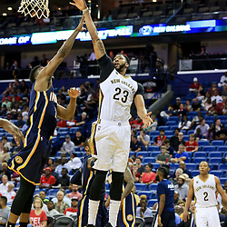Oct 4, 2016; New Orleans, LA, USA;  New Orleans Pelicans forward Anthony Davis (23) shoots over Indiana Pacers forward Thaddeus Young (21) during the second half of a game at the Smoothie King Center. The Pacers defeated the Pelicans 113-96. Mandatory Credit: Derick E. Hingle-USA TODAY Sports