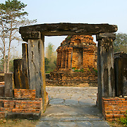 Ancient Lintle at Wat Chetuphan in Sukhothai. The Sukhothai kingdom was an early Thai kingdom in north central Thailand. It existed from during the 13, 14, 15th centuries The.old capital is in ruins and is a Historical Park..View from Feb, 2007.