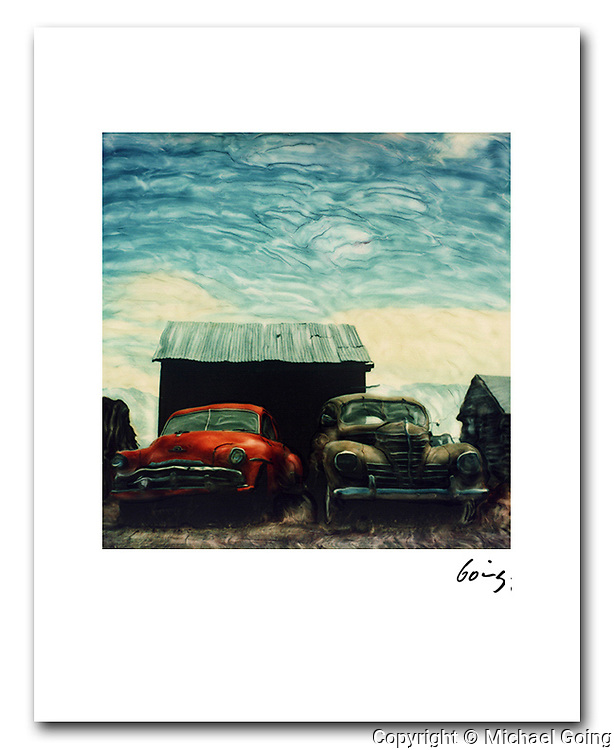 altered Polaroid SX-70 photograph of two old cars and a shack on highway 395 in California. Print file is from high res scan of the original  hand altered Polaroid photograph and is custom printed to order and invidually hand signed.