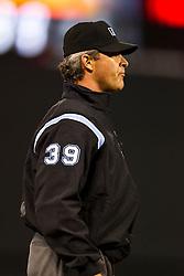 May 26, 2010; San Francisco, CA, USA;  Major League Baseball umpire Paul Nauert (39) during the sixth inning of the game between the San Francisco Giants and the Washington Nationals at AT&T Park.  Washington defeated San Francisco 7-3.