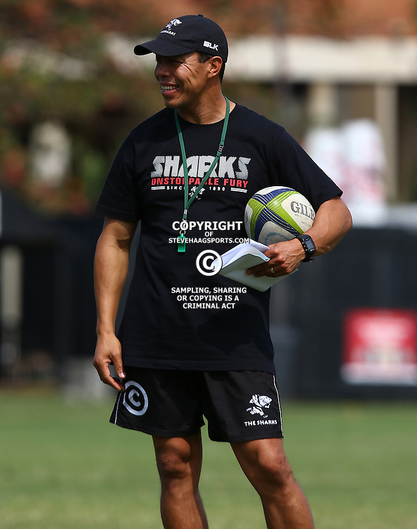 DURBAN, SOUTH AFRICA, 8 September, 2016 -Ricardo Loubscher (Assistant Coach) of the Cell C Sharks during The Cell C Sharks training session at Growthpoint Kings Park in Durban, South Africa. (Photo by Steve Haag)<br /> <br /> images for social media must have consent from Steve Haag