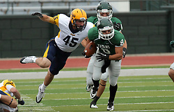 18 October 2014:  Josh Symbal (LB) leaps for ball carrier Fernando Lozano (WR)  during an NCAA division 3 football game between the Augustana Vikings and the Illinois Wesleyan Titans in Tucci Stadium on Wilder Field, Bloomington IL