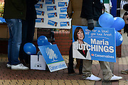 © Licensed to London News Pictures. 21/02/2013. Eastleigh, UK Supporters of Maria Hutchings, the Conservative Candidate, at their stall in the local market in Eastleigh. Campaigning for the  Eastleigh by-election today 21 February 2013. Photo credit : Stephen Simpson/LNP