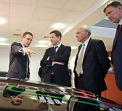 Nick Clegg and Vince Cable visiting the Shoreham Technical Centre during the Liberal Democrat Party Conference, Monday 24th September 2012. Photo by Elliott Franks / i-Images