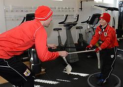 Bristol City's Scott Wagstaff warms up with Connor in the Gym - Photo mandatory by-line: Dougie Allward/JMP - Mobile: 07966 386802 - 01/04/2015 - SPORT - Football - Bristol - Bristol City Training Ground - HR Owen and SAM FM