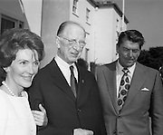President DeValera Welcomes Governor Reagan..1972..18.07.1972..07.18.1972..18th July 1972..On his visit to Ireland,Governor Ronald Reagan of California,was greeted at Áras an Uachtaráin by the President, Mr Eamon DeValera. Governor Reagan was accompanied by his wife Nancy...Image taken on the steps of Áras an Uachtaráin as Mrs Nancy Reagan takes the arm of President Devalera. Governor Reagan appears to be in thoughtful mode.