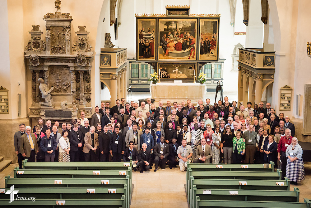 Group photograph of the International Conference on Confessional Leadership in the 21st Century at the Town and Parish Church of St. Mary's on Wednesday, May 6, 2015, in Wittenberg, Germany. LCMS Communications/Erik M. Lunsford