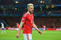 LILLE, FRANCE - Friday, July 1, 2016: Wales' Aaron Ramsey in action against Belgium during the UEFA Euro 2016 Championship Quarter-Final match at the Stade Pierre Mauroy. (Pic by Paul Greenwood/Propaganda)