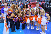SAN DIEGO, CA - MARCH 16:  Clemson Tigers cheerleaders pose for a photo before a first round game of the Men's NCAA Basketball Tournament against the New Mexico State Aggies at Viejas Arena in San Diego, California. Clemson won 79-68.  (Photo by Sam Wasson)
