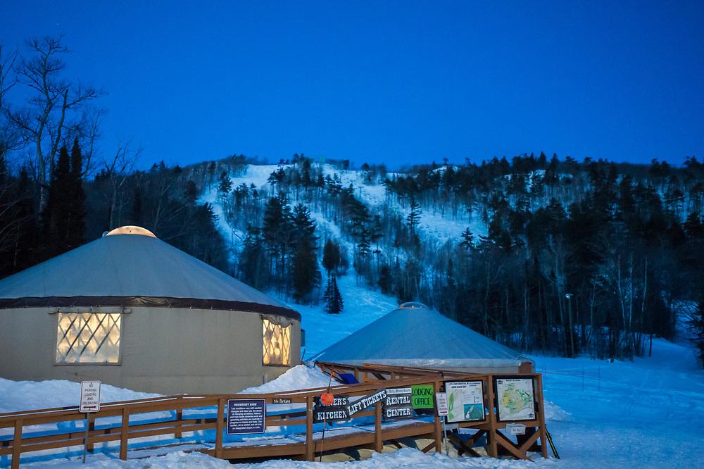 The yurt headquarters of Mount Bohemia ski area in Michigan.
