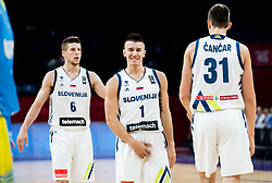 Aleksej Nikolic of Slovenia, Matic Rebec of Slovenia and Vlatko Cancar of Slovenia during basketball match between National Teams of Slovenia and Ukraine at Day 10 in Round of 16 of the FIBA EuroBasket 2017 at Sinan Erdem Dome in Istanbul, Turkey on September 9, 2017. Photo by Vid Ponikvar / Sportida