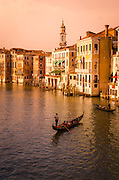 Evening light and gondolas on the Grand Canal, Venice, Veneto, Italy