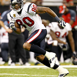 September 25, 2011; New Orleans, LA, USA; Houston Texans wide receiver Andre Johnson (80) against the New Orleans Saints during the third quarter at the Louisiana Superdome. The Saints defeated the Texans 40-33. Mandatory Credit: Derick E. Hingle