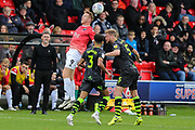 Salford City's Adam Rooney(9) and Forest Green Rovers Matt Mills(5) challenge for the ball during the EFL Sky Bet League 2 match between Salford City and Forest Green Rovers at Moor Lane, Salford, United Kingdom on 28 September 2019.