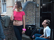"""EMMA CHITTY; ALICE DELLAL;, Video artist Yi Zhou  first solo show """"I am your Simulacrum"""".Exhibition opening at 20 Hoxton Square Projects. Hoxton Sq. London. 1 September 2010.  -DO NOT ARCHIVE-© Copyright Photograph by Dafydd Jones. 248 Clapham Rd. London SW9 0PZ. Tel 0207 820 0771. www.dafjones.com."""