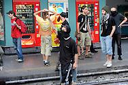 Roma 7 Luglio 2009.Manifestanti bloccano i binari della Stazione Termini per protestare contro il G8.Protesters blocking the tracks of the Termini Station to protest against G8.
