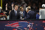 NFL Commissioner Roger Goodell, former New York Jets quarterback Joe Namath, and New England Patriots owner Robert Kraft in action after the NFL Super Bowl 53 football game against the Los Angeles Rams on Sunday, Feb. 3, 2019, in Atlanta. The Patriots defeated the Rams 13-3. (©Paul Anthony Spinelli)