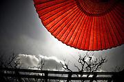 KYOTO, JAPAN - Zen temple Riyoanji - Red umbrella on dark sky - Symbol of Hinomaru, Sun's circle - March 2011