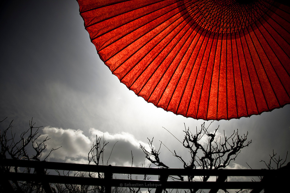 KYOTO, JAPAN - Zen temple Riyoanji - Red umbrella on dark sky - Symbol of Hinomaru, Sun's circle - March 2011