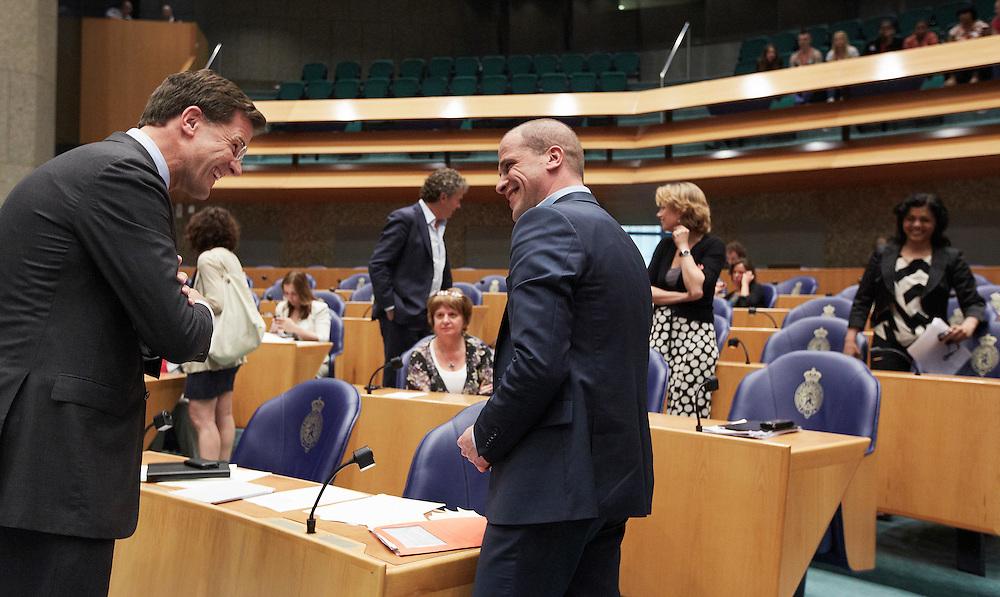 Nederland. Den Haag, 24 mei 2012.<br /> Verantwoordingsdebat in de Tweede kamer, demissionaire kabinet Rutte, derde woensdag in mei. Politiek, <br /> Foto : Martijn Beekman