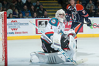 KELOWNA, CANADA - FEBRUARY 6: Jackson Whistle #1 of Kelowna Rockets defends the net against the Kamloops Blazers on February 6, 2015 at Prospera Place in Kelowna, British Columbia, Canada.  (Photo by Marissa Baecker/Shoot the Breeze)  *** Local Caption *** Jackson Whistle;