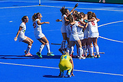 Spain celebrate winning the  Bronze Medal at the Vitality Hockey Women's World Cup 2018 Bronze Medal match between Australia and Spain, at the Lee Valley Hockey and Tennis Centre, QE Olympic Park, United Kingdom on 5 August 2018. Picture by Martin Cole.