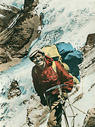 Sherpa Tenzing Norgay, hand tinted print from 1951 French Nanda Devi expedition, India, Tenzing made 1st ascent Mt Everest with Ed Hillary in May 1953.