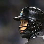 NEW YORK, NEW YORK - APRIL 12: Giancarlo Stanton, Miami Marlins, preparing to bat during the Miami Marlins Vs New York Mets MLB regular season ball game at Citi Field on April 12, 2016 in New York City. (Photo by Tim Clayton/Corbis via Getty Images)