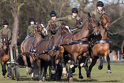 © Licensed to London News Pictures. 06/03/2017. LONDON, UK.  Soldiers from the King's Troop Royal Horse Artillery rehearse their world-famous musical drive near the Royal Artillery Barracks in Woolwich, south east London during sunny spring weather as they prepare for their annual inspection tomorrow. Royal duties of the King's Troop Royal Horse Artillery include firing Royal and ceremonial salutes on state occasions. The Musical Drive is one of the most spectacular displays of horsemanship in the world involving risk laden complex choreographed moves with split second timing. The Guns in the Troop display all saw service in the First World War. Each Gun and limber weighs 1.5 tonnes, has no brakes.  Photo credit: Vickie Flores/LNP