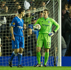 BIRMINGHAM, ENGLAND - Thursday, November 3, 2011: Birmingham City's goalkeeper Colin Doyle looks dejected as Club Brugge score the second goal during the UEFA Europa League Group H match at St. Andrews. (Pic by David Rawcliffe/Propaganda)