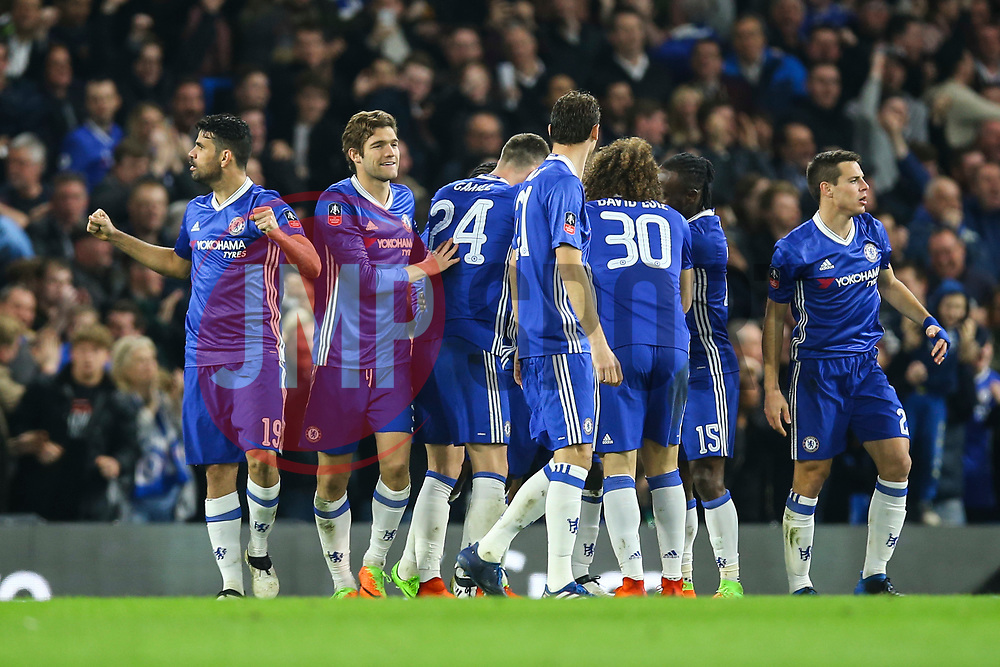 Diego Costa of Chelsea celebrates Ngolo Kante of Chelsea goal, Chelsea 1-0 Manchester United - Mandatory by-line: Jason Brown/JMP - 13/03/2017 - FOOTBALL - Stamford Bridge - London, England - Chelsea v Manchester United - Emirates FA Cup Quarter Final