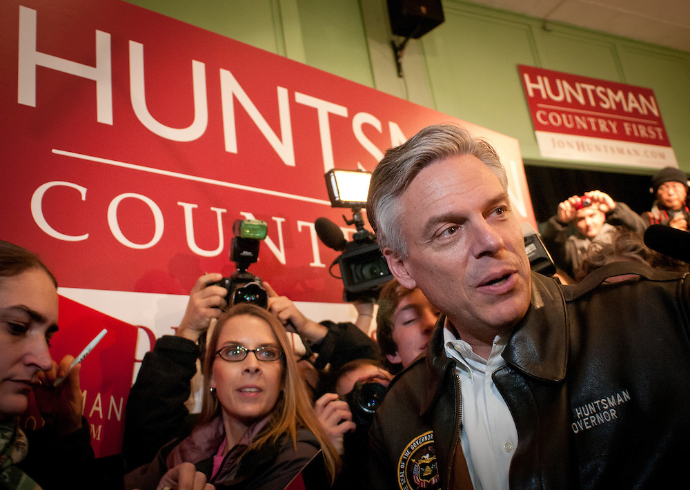 Republican Presidential hopeful former Utah Gov. Jon Huntsman talks to supporters after his last town hall event where he kicked off his campaign. It was Huntsman's 170th event on the eve of the NH Primary. Exeter Town Hall in Exeter, New Hampshire.