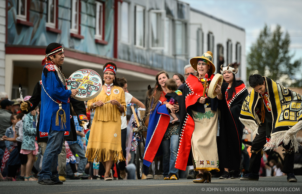 The town of Haines, in southeast Alaska, celebrates the Fourth of July with a parade, picnic, and other activities. Among the participants in the parade was a group wearing traditional Tlingit clothing, including Chilkat blankets which are worn on special occasions.<br /> <br /> Haines, a picturesque costal fishing community, is located on the Lynn Canal between the towns of Skagway and Juneau.