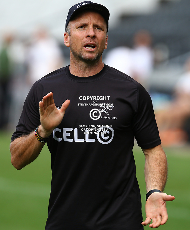 Johan Pretorius Head Strength &amp; Conditioning Coach of the Cell C Sharks during The Cell C Sharks captain's run at Growthpoint Kings Park in Durban, South Africa. 3rd August 2017(Photo by Steve Haag)<br /> <br /> images for social media must have consent from Steve Haag
